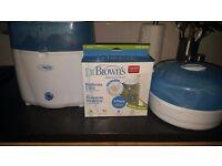Dr Brown electric steriliser, microwave steriliser and bottles