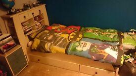 Childrens single bed. Plenty of storage
