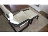 POANG leather armchair and foot stool, black-brown frame, cream cover (Glose Robust eggshell)