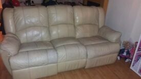 Reclinable creme 3 seater sofa also with reclining creme chair good condition with some ware