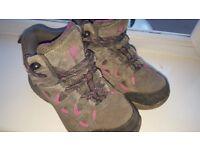 Karrimor girls size 12 walking/hiking boots Pink and dark grey