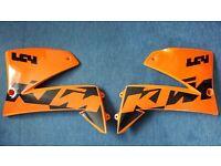 2002 KTM 640 LC4 Supermoto Tank Panels / Radiator Scoops Left & Right (Orange/Black)