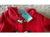 John Lewis red hooded coat with tags.