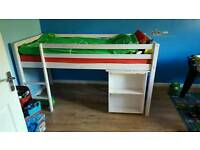 Spiderman high sleeper with pull out desk and shelves