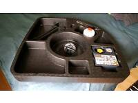 JAGUAR XF GENUINE TYRE SEALANT AND COMPRESSOR KIT WITH FITTED ACCESSORIES HOLDER. NEW UNUSED