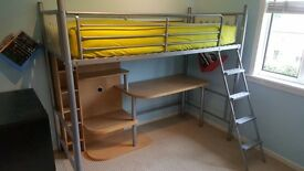 Single Bunk Bed with desk and shelves