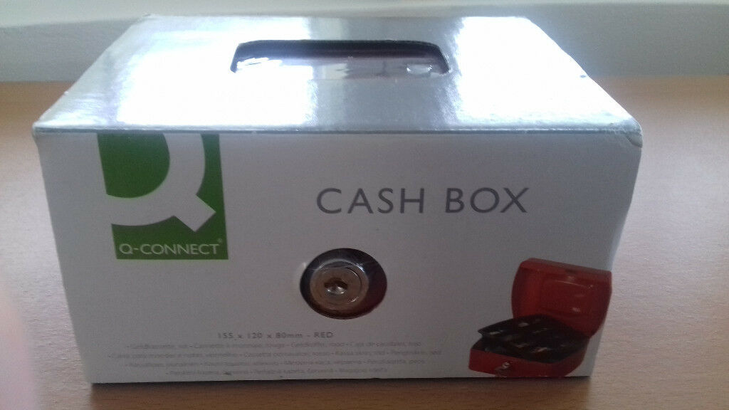 Q-Connect Red 6 Inch Cash Box for sale,brand new in plastic covering and sleeve,£5.99