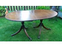 Pedestal Regancy Style Mahogany and gilt mounted twin pedestal dining table