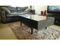 Flatpack brown wood glass top coffee table