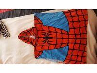 Child's swim towel poncho spiderman