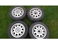 """15"""" VW Audi Genuine Pepperpot Alloys 5 Stud Wheels With Tyres."""