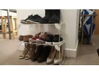 2x White Frame Shoe Rack