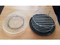 PANASONIC Microwave 340mm glass turntable plate and grill tray with accessories