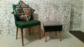 Gorgeous mid century foot stool/storage/sewing box ONO