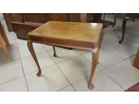 Burr Walnut Coffee Table With Queen Anne Legs