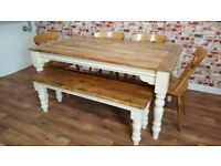 Rustic Farmhouse Turned Leg Dining Set - Extendable - Seats up to Twelve People - Benches and Chairs