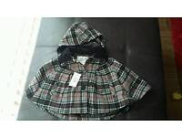Girl's checked hooded cape - size 18-24 months - brand new with tags