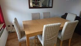 Dining Table & 6 Chairs, wooden table 1750mm x 950mm x 740mm (h). Padded chairs, removable covers