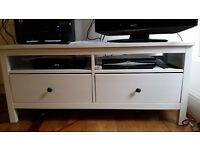 Ikea TV stand - Hemnes white with two drawers