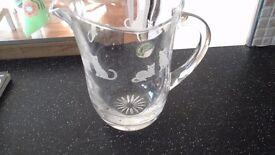 Crystal glass jug,cat design