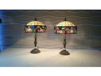 2 tiffany syle table lamps (houses) in good condition, 54 cm high.