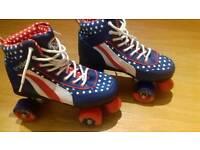 RARE! Ladies Rio Rollers - red white & blue retro JIVE roller skates. Size UK 5.
