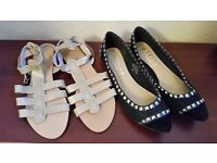 1pr OFFICE flats (worn once) and 1pr OFFICE sandals (new)