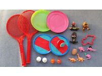 Kids Toys,Rackets,Frisbee,Catch & Ball Set,2 Golf Balls,Red+Orange ball + Others, Cheap ALL for £1