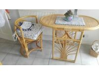 Small Wicker Kitchen table & 2 Chairs