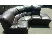 Brown leather corner sofa _ free delivery