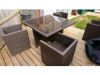 Garden Rattan Table with Glass Top and 4 Chairs