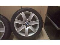 """bmw 17"""" alloy wheels 5 stud. 225/45/17. E46, E36"""