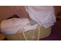 Mamas and Papas Moses Basket & Folding Stand plus bedding with spares