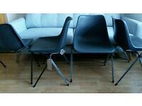 4 Robin Day Polyside Polypropylene Side Chairs Dark Grey RRP £196