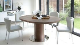 Clearance Stock Danetti Brand New Rich Brown Round Walnut Extending Dining Table