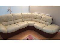 Cream & brown leather corner sofa & footstool