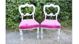 Pair of painted and crushed pink velvet upholstered chairs