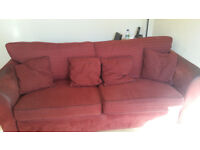 Free Large 3 to 4 Seater Red Sofa, Used. Collection Only.