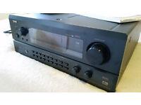 Home cinema system inc Denon AV surround sound amp, misson speakers/subwoofer + speaker stands