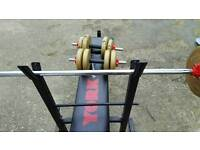 Weight training bench and weights and dumbell