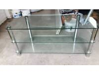 Three tier glass and chrome tv stand