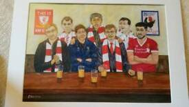 Painting/picture print of Liverpool football fans