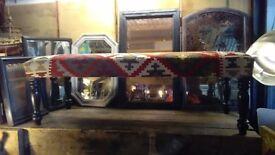 Large kilim upholstered bench handmade kilim vintage legs kilim furniture surrey london bespoke