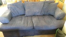 Blue 3 - Seater Sofa. Slightly damaged but comfortable