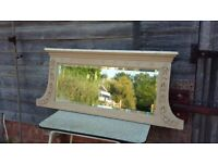 Large Vintage Painted Shabby Chic Over Mantel Mantle Mirror. Victorian.