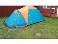 pro action 2-3 man tent with porch and inner tent ground sheet