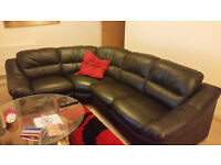 Rounded Corner Leather Sofa & Chair - Black