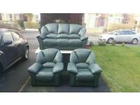 3+1+1 dark green leather sofa
