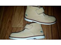 Toddler Lacoste tan boots. Size 9