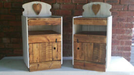 Handmade Rustic Farmhouse Country Style Shabby Chic Pair of Bedside Cabinets